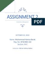 Assignment 2(Management)