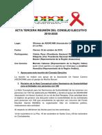 Acta 3ra Reunión Consejo Ejecutivo, Red Nacional de Personas con VIH (REDBOL)18 OCT 2019