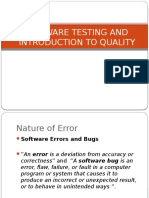 Software Testing and Introduction to Quality