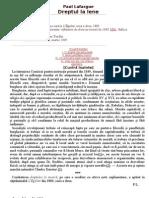 Paul Lafargue Dreptul La Lene