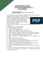 Questionário Aparelho Reprodutor Masculino