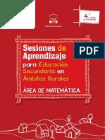 Sesiones de Aprendizaje Para Educación Secundaria en Ámbitos Rurales, Área de Matemática. 4to. Grado de Secundaria