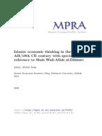 AA Islahi (2009) Islamic Economic Thinking in 18 Century