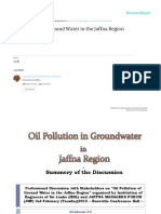Oil Pollution in Groundwater of Jaffna Region