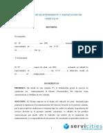 Contrato de Mantenimiento y Reparación de Vehículos Actualizado