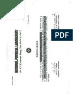 Calibration NPL Training Certificate