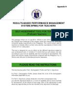 Self-Assessment Tool for Teacher I-III