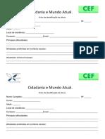Ficha de Identificação Cidadania e Mundo Atual