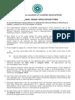 2016 Travel Grant Application Form