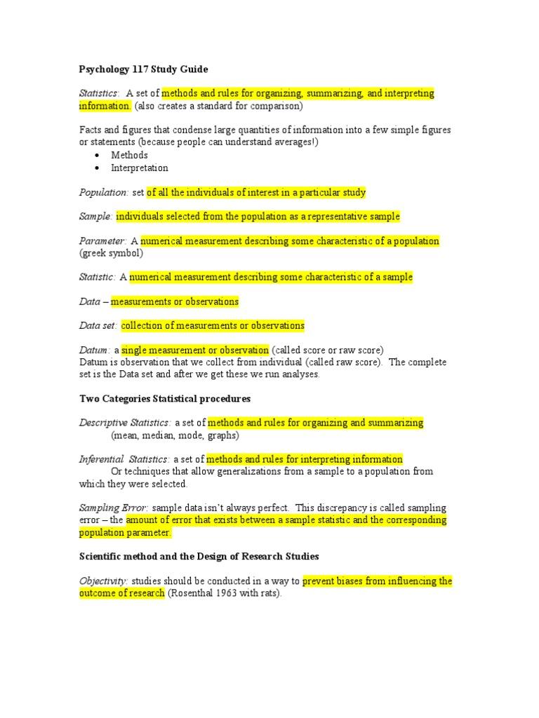 Psychology 117 Study Guide Standard Deviation Statistical