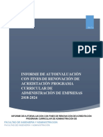 Informe de Autoevaluaciòn Administración de Empresas