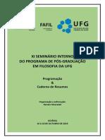 Programação e Resumos Do XI Seminário Interno Do PPGFIL