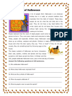 The History of Halloween Reading Comprehension Exercises 74041