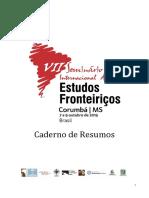 Caderno de Resumos Do VII SEF 2019