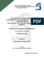 Justificacion y Procedimiento Lumbrera 3A Por Medio de Muro Milan en El Cad 6 487.963 Del Tunel Emisor Oriente