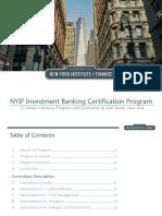 NYIF Investment Banking Certification Program Brochure
