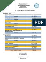 2019-2020 Exam Schedule