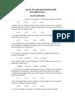 Buacs Quiz on Air Questionnaire Mathematics