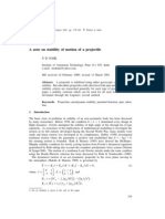 A Note on Stability of Motion of a Projectile