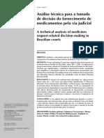 Análise técnica para a tomada de decisão do fornecimento de medicamentos pela via judicial