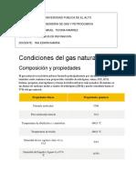 Condiciones del gas natural