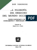 La Filosofía Del Derecho Del Mundo Occidental.  Alfred Verdross