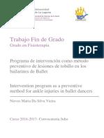 Programa de Intervencion Como Metodo Preventivo de Lesiones de Tobillo en Los Bailarines de Ballet