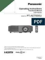 Panasonic Ptae7000u User Manual