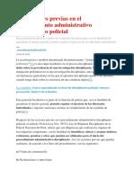 Las Acciones Previas en El Procedimiento Administrativo Disciplinario Policial