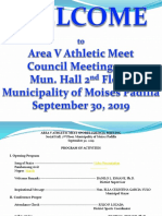 Area v Athletic Meet Sports Coucil Meeting Minutes of Meeting