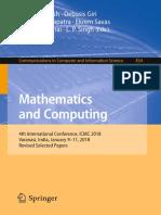 (Communications in Computer and Information Science 834) Debdas Ghosh, Debasis Giri, Ram N. Mohapatra, Ekrem Savas, Kouichi Sakurai, L. P. Singh - Mathematics and Computing-Springer Singapore (2018)