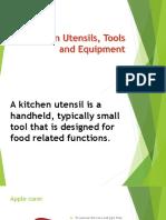 Kitchen Utensils, Tools and Equipment Powerpoint