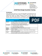 Autodesk AutoCAD Plant Design Essentials Training Syllabus