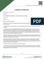 Banco Central de La República Argentina (COMUNICADO)