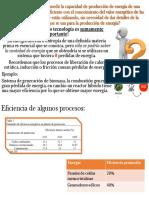 Relacion del valor energético de las materias primas con la producción energética
