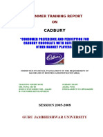 101508540 Consumer Preference and Perception for Cadbury Chocolates