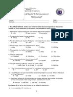 G7-Math-2nd Quarter Written Test