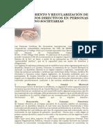 Reconocimiento y Regularización de Los Consejos Directivos en Personas Juridicas No Societarias