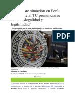 OEA Sobre Situación en Perú