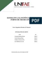 Relatório - Estimativa Da Potência de Um Forno de Microondas 1