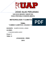Cambio Climatico ,Causas y Efecto