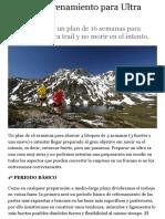 Plan de entrenamiento para Ultra Trail | Planes de entrenamiento | Trailrun.es