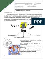 Avaliacão Parcial Ciências 3o Trimestre - Liciane
