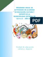Plan Anual de La Unidad de Educacion, Deporte y Cultura Turismo