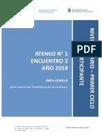 Nivel Primario - Ateneo Didáctico N° 1 Encuentro 2 - Primer Ciclo Lengua - Carpeta Participante