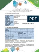 Guía de Actividades y Rúbrica de Evaluación - Paso 3 - Matriz Analítica. Analizar e Interpretar Artículos Científicos
