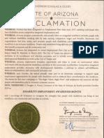 Arizona Governor Doug Ducey 2019 Proclamation - Disability Employment Awareness Month