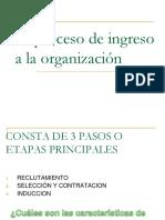 Proceso de ingreso a la organización