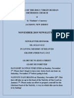 Nativity of the Holy Virgin Church - Newsletter - November, 2019
