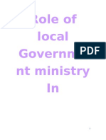 Role of Local Government Ministry